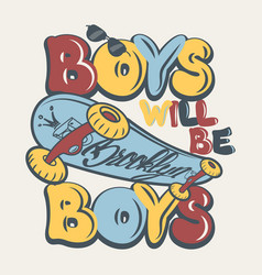 Skate board boys t-shirt graphics vector