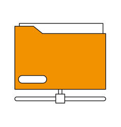 Sketch color silhouette office folder with vector