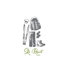 Ski resort winter equipment clothing concept vector