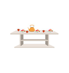 small white table setting with three tea cups and vector image