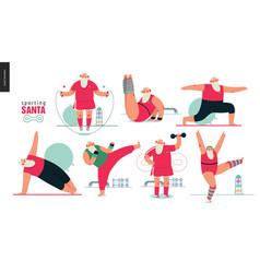 Sporting santa - gym exercises vector