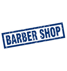 Square grunge blue barber shop stamp vector