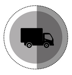 sticker monochrome circular emblem with truck icon vector image