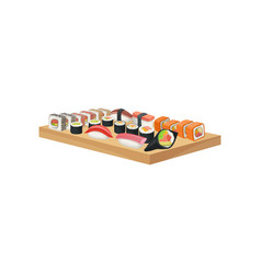 sushi set on wooden plate delicious asian dish vector image