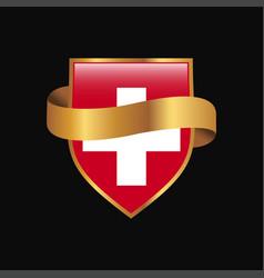 Switzerland flag golden badge design vector