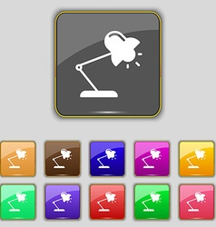Table lamp icon sign Set with eleven colored vector