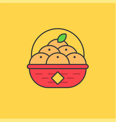 tangerine in red basket for lunar new year vector image