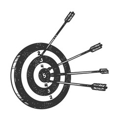 Target with arrows sketch engraving vector