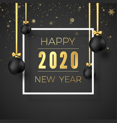 template new year greeting card golden text in vector image