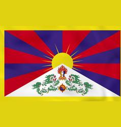 Tibet waving flag tibet national flag background vector