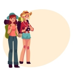 Two pretty girls travelling hitchhiking with vector image