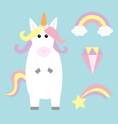 unicorn holding rainbow cloud comet meteor vector image
