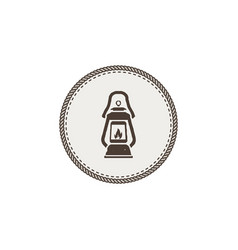 vintage camping lantern patch isolated on white vector image