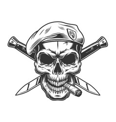 Vintage monochrome soldier skull in beret vector