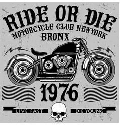 vintage motorcycle hand drawn grunge vintage vector image