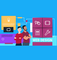 web design technology presentation two man mix vector image