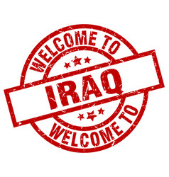 Welcome to iraq red stamp vector