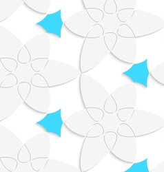 White floristic swirl with blue pattern seamless vector