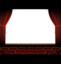 White screen in the cinema with a stage and chairs vector