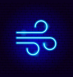 Wind neon sign vector