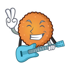 with guitar cookies mascot cartoon style vector image