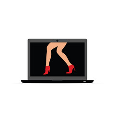 woman legs on laptop vector image
