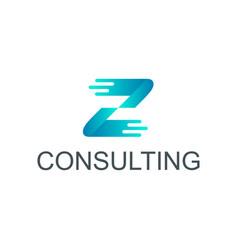 Z iniatial logo design technology vector
