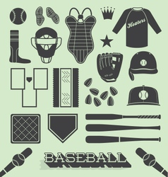 Baseball Objects and Icons vector image