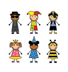 Cartoon children in different carnival costumes vector image vector image