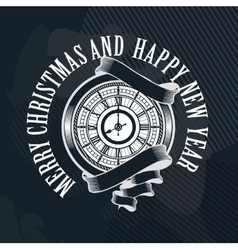 Merry Christmas clock vector image vector image
