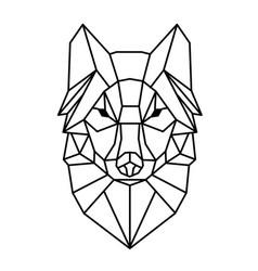 Modern geometry wolf design tattoo image vector