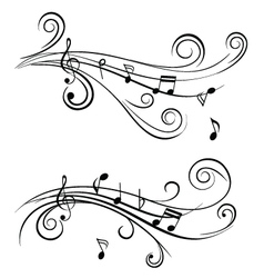 sound wave sheet music notes vector image