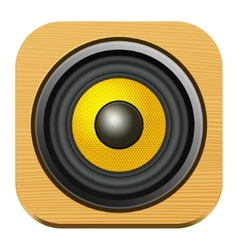 Speaker Icon on Square Wood Internet Button vector image vector image