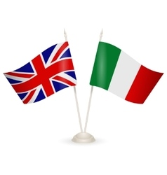 Table stand with flags of England and Italy vector image