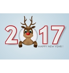 Happy New Year background Reindeer with red nose vector image vector image