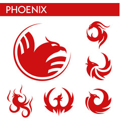 phoenix fire bird template icons set vector image vector image