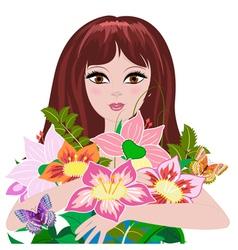 woman bouquet2 vector image vector image