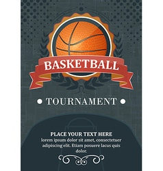 Basketball tournament background or poster Design vector image vector image