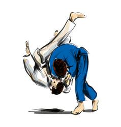 color line sketch fighting judo vector image vector image