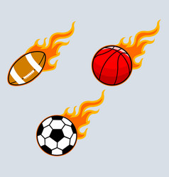 flaming sport ball vector image