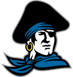 pirate tricorn hat neckerchief retro vector image vector image