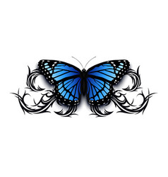 realistic butterfly icon on top of abstract tribal vector image