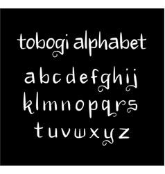 tobogi alphabet typography vector image vector image