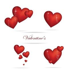 valentine heart sign set red color vector image