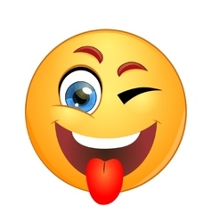 Yellow smiley winking and showing tongue vector image vector image