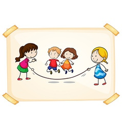 A frame with kids playing vector image vector image