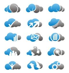 Cloud computing icons and logos set vector image vector image