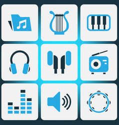 Music colored icons set collection of harp mixer vector