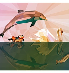 Water is our LIFE - Low Poly Animals vector image vector image
