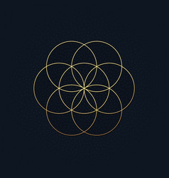 A luxury background with a golden flower of life vector